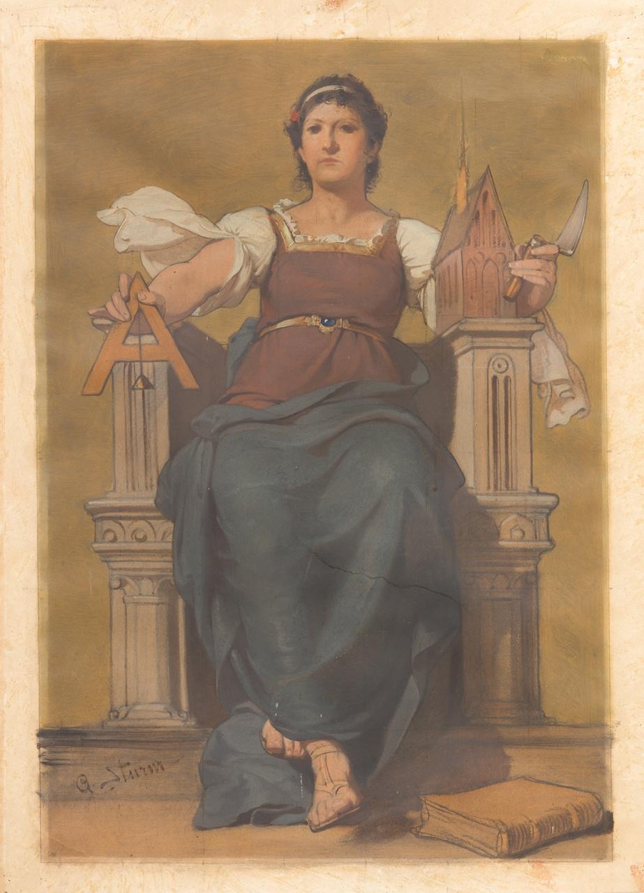 Vrouw met symbolen van de bouwkunst