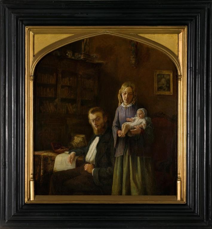 Familieportret van Pierre Cuypers met zijn eerste echtgenote Rosa van de Vin en hun dochtertje Catharina Felicia Rosalia