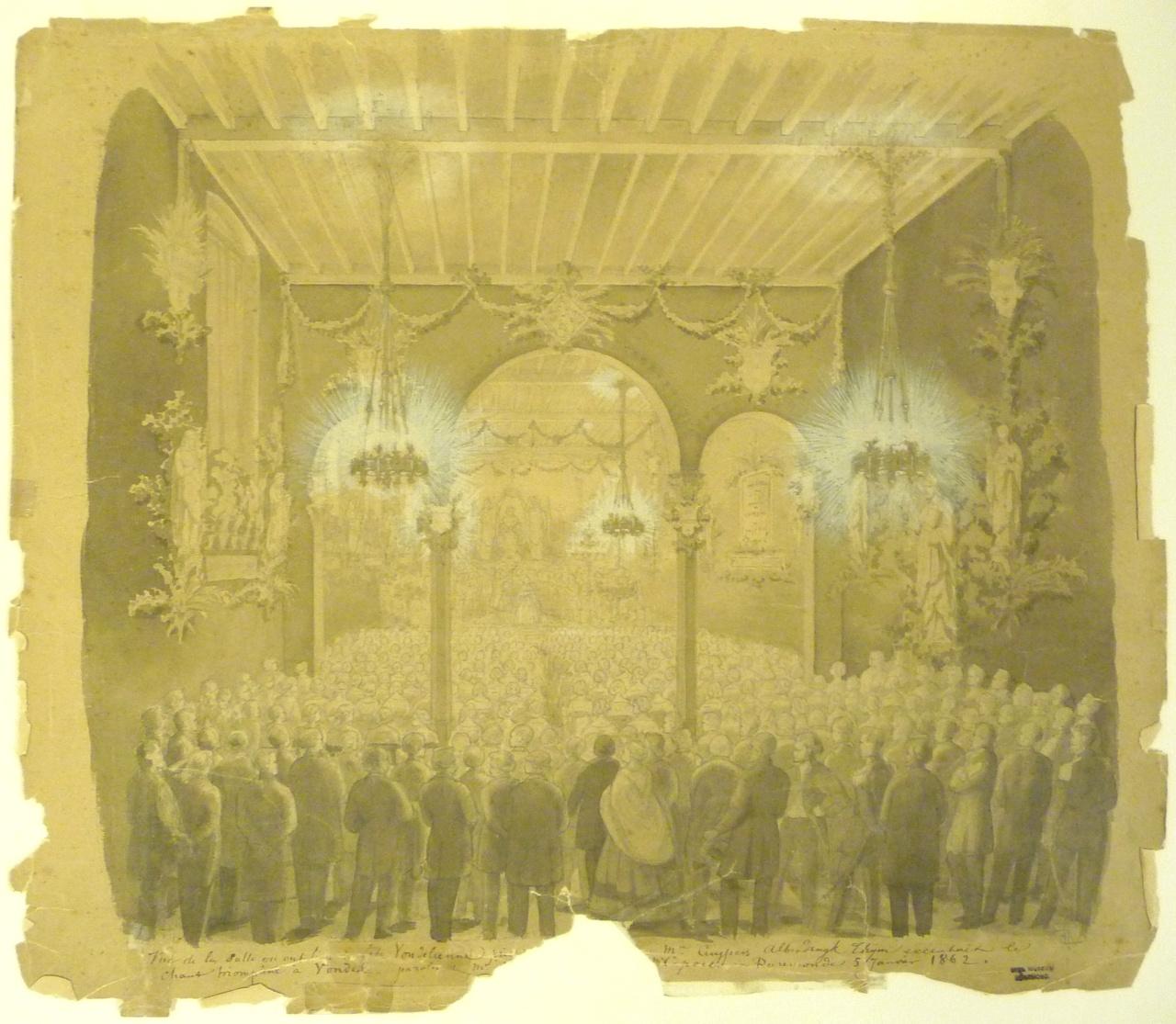 Tekening van het Vondelfeest in een zaal.