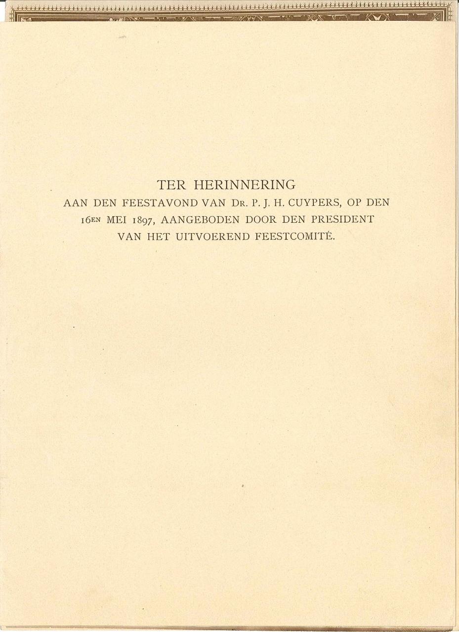 Herinneringsblad t.g.v. 70e verjaardag P.J.H. Cuypers