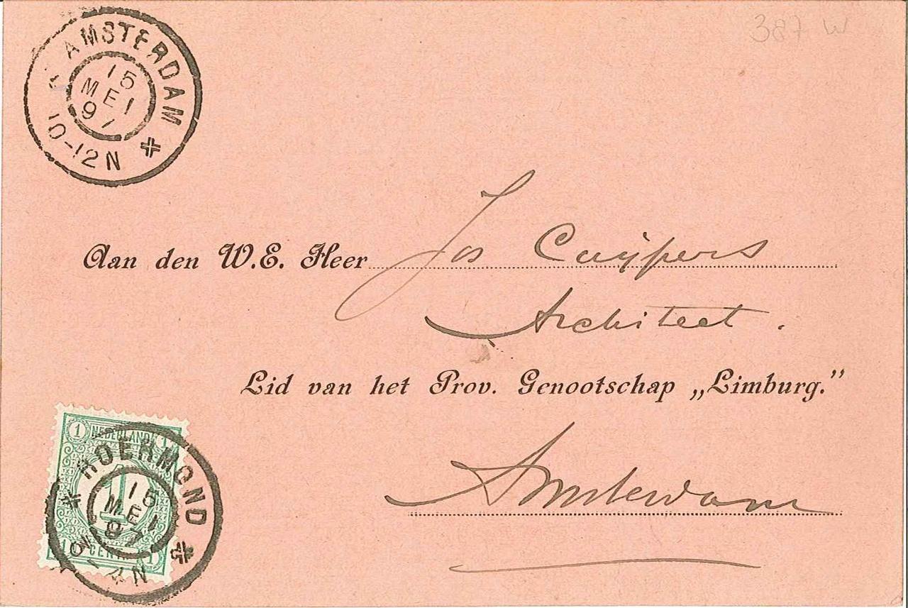 Uitnodigingskaart b.g.v. 70e verjaardag P.J.H. Cuypers