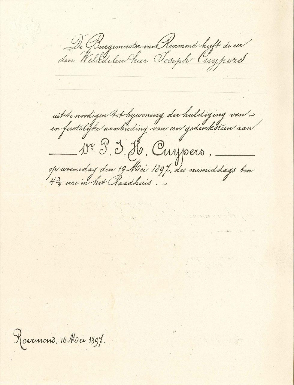 Uitnodiging b.g.v. 70e verjaardag P.J.H. Cuypers