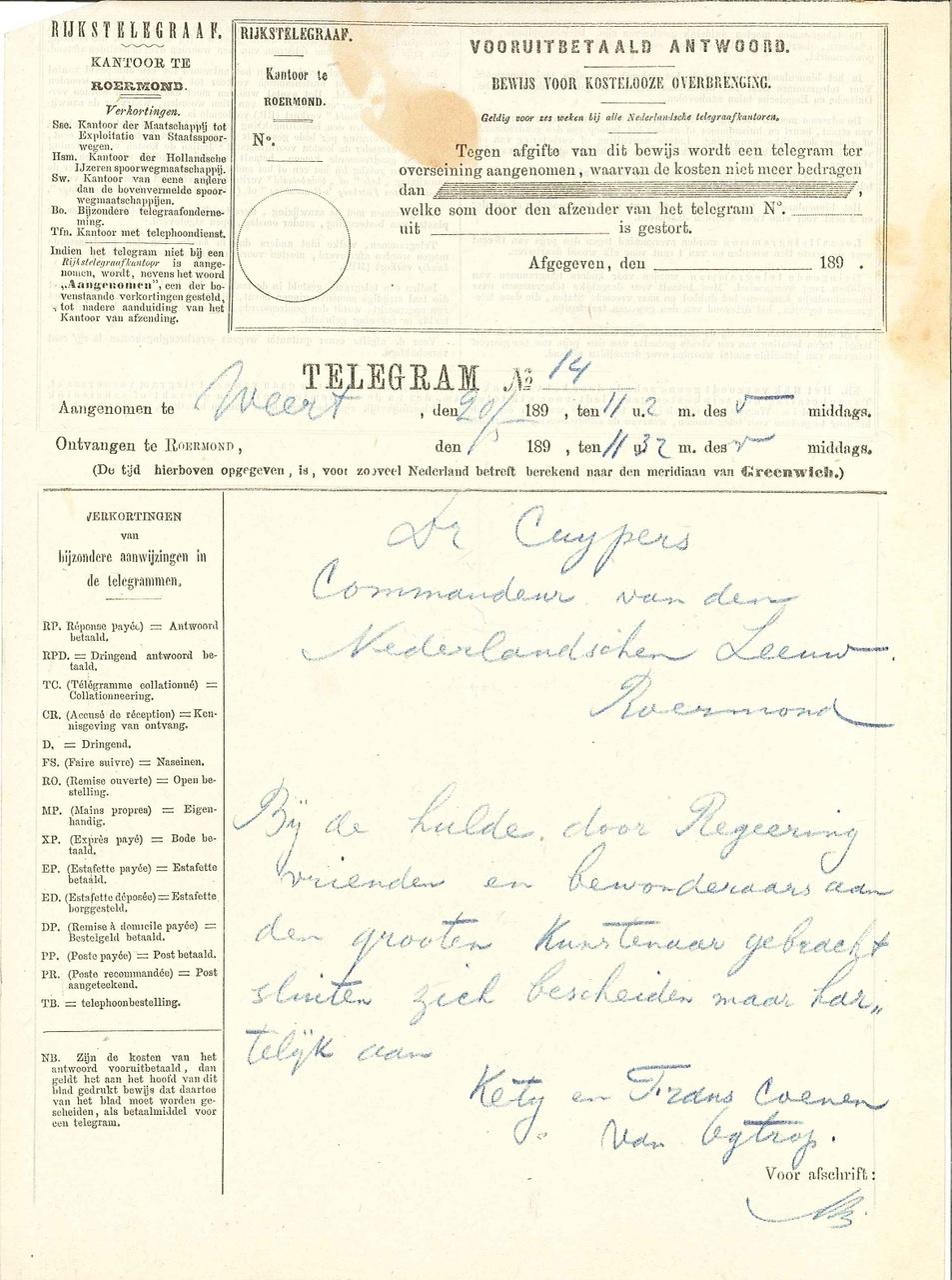 Telegrammen b.g.v. 70e verjaardag van P.J.H. Cuypers