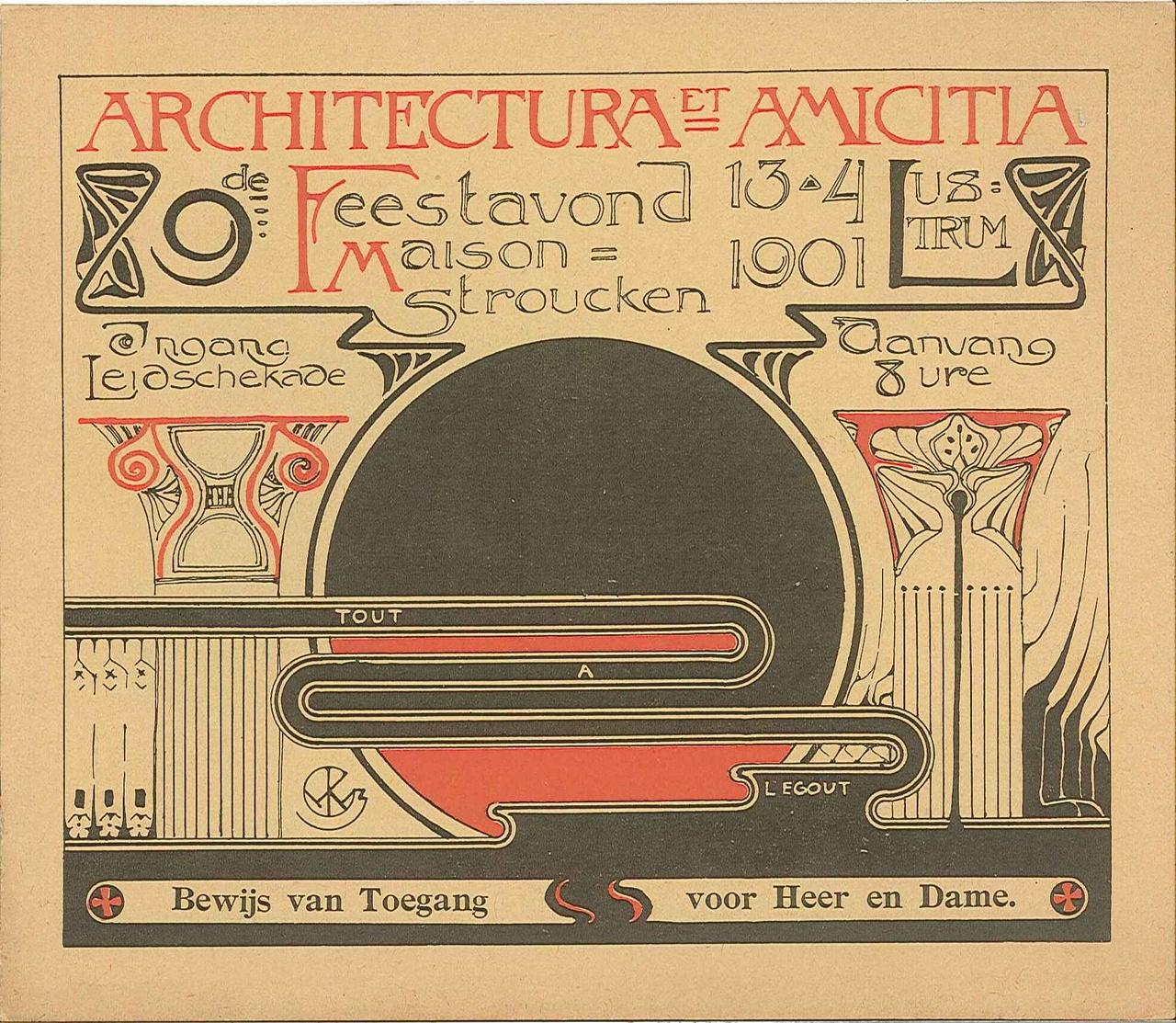 Uitnodiging feestavond t.g.v. 9e lustrum van Architectura et Amicitia.