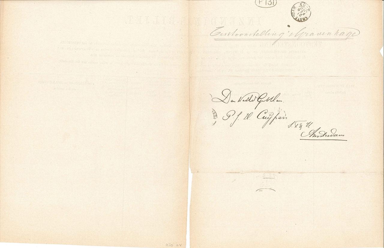 Aanvraag voorwerpen voor tentoonstelling 's-Gravenhage, augustus/september 1880.
