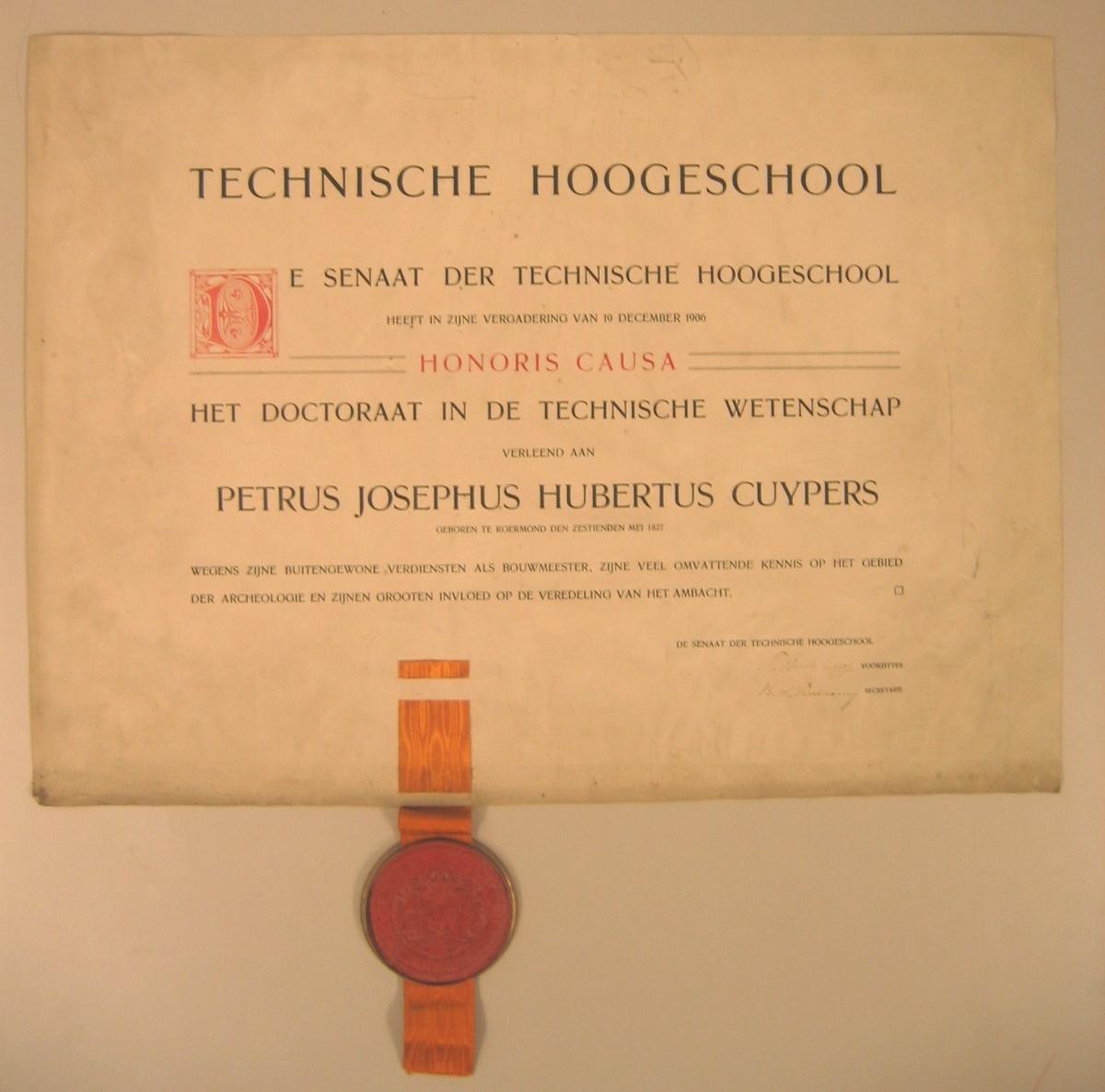 Doctoraat in de Technische Wetenschap van Petrus Josephus Hubertus Cuypers