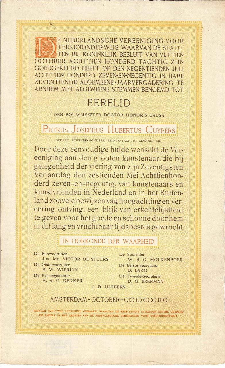 Ere-lidmaatschap van de Nederlandsche Vereeniging voor Teekenonderwijs Amsterdam