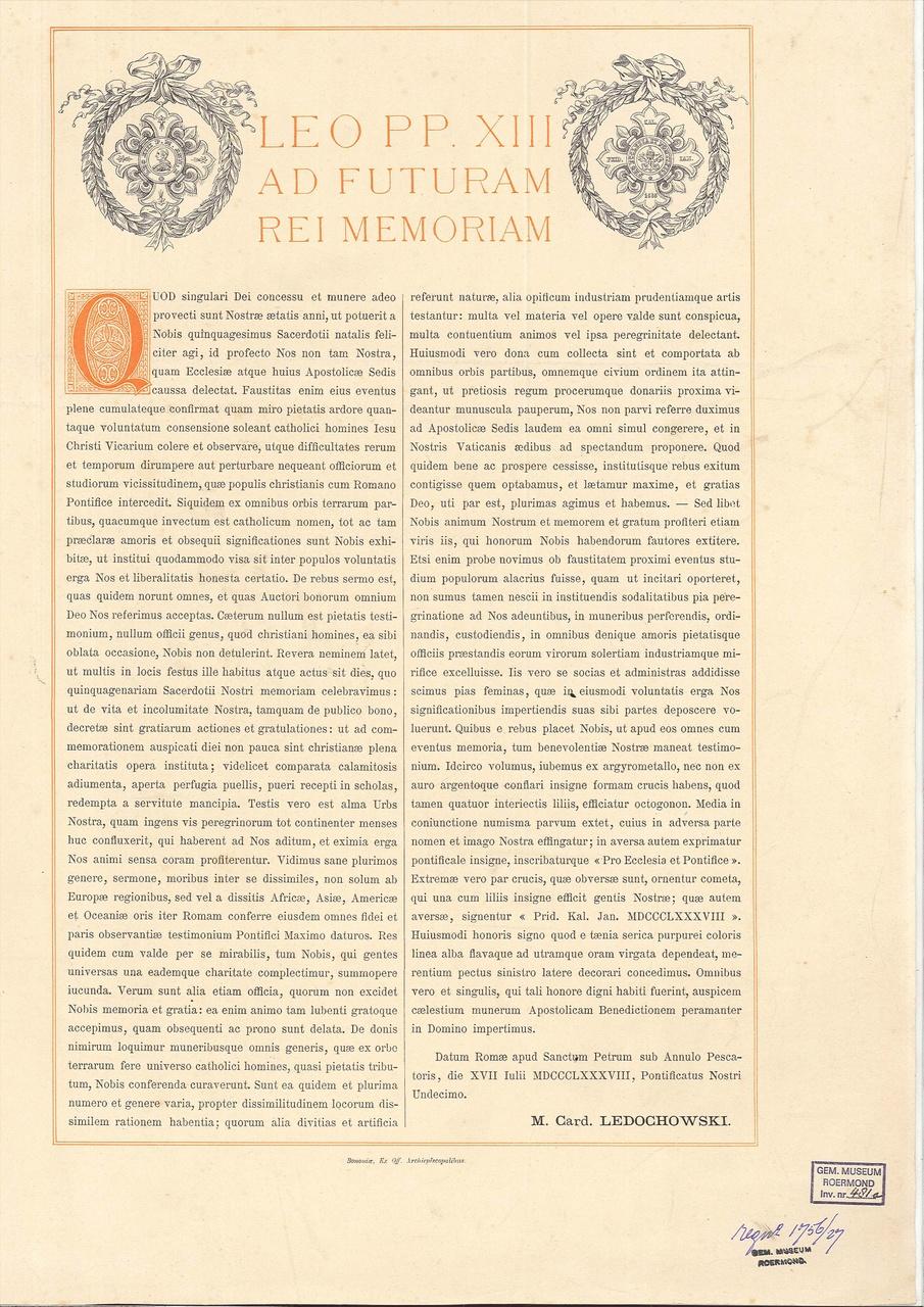 Document behorende bij de Pauselijke     onderscheiding Pro Ecclesia et Ponticice