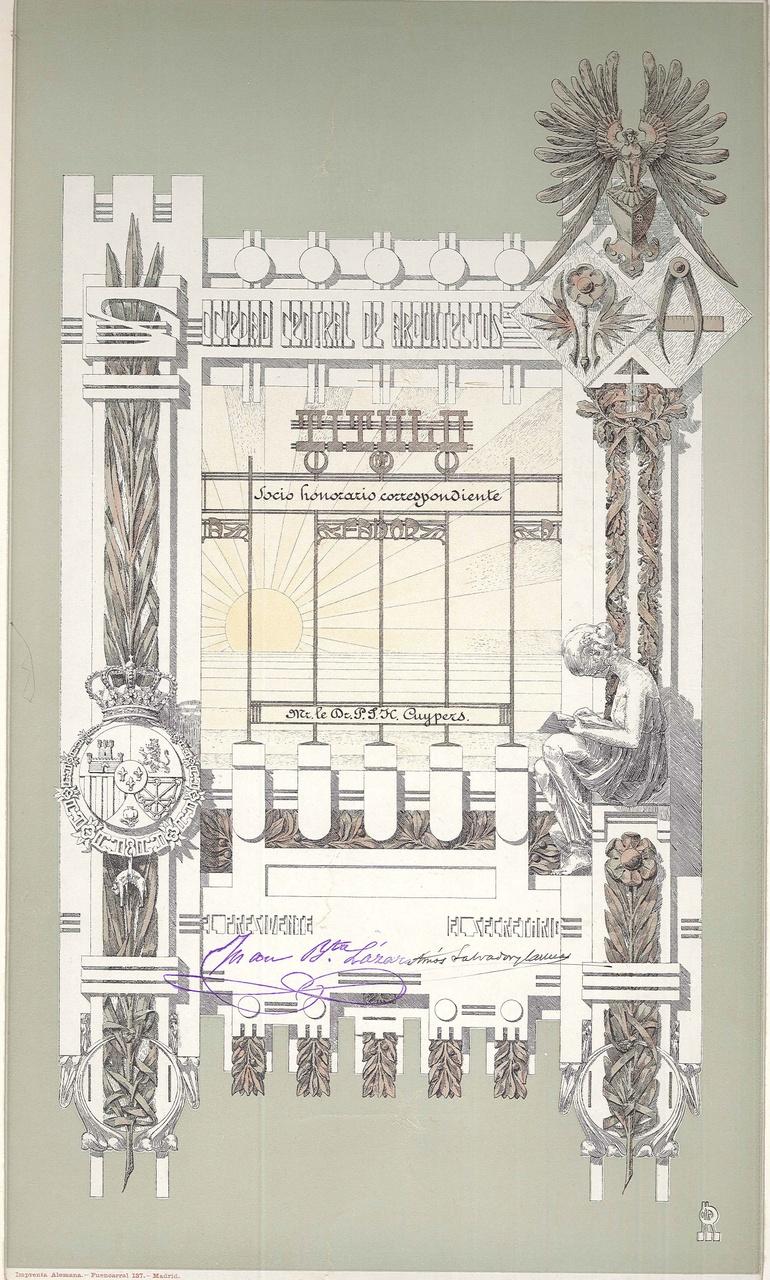 Titilo Socis Honoraris Correspondiente Mr. le Dr. P.J.H. Cuypers