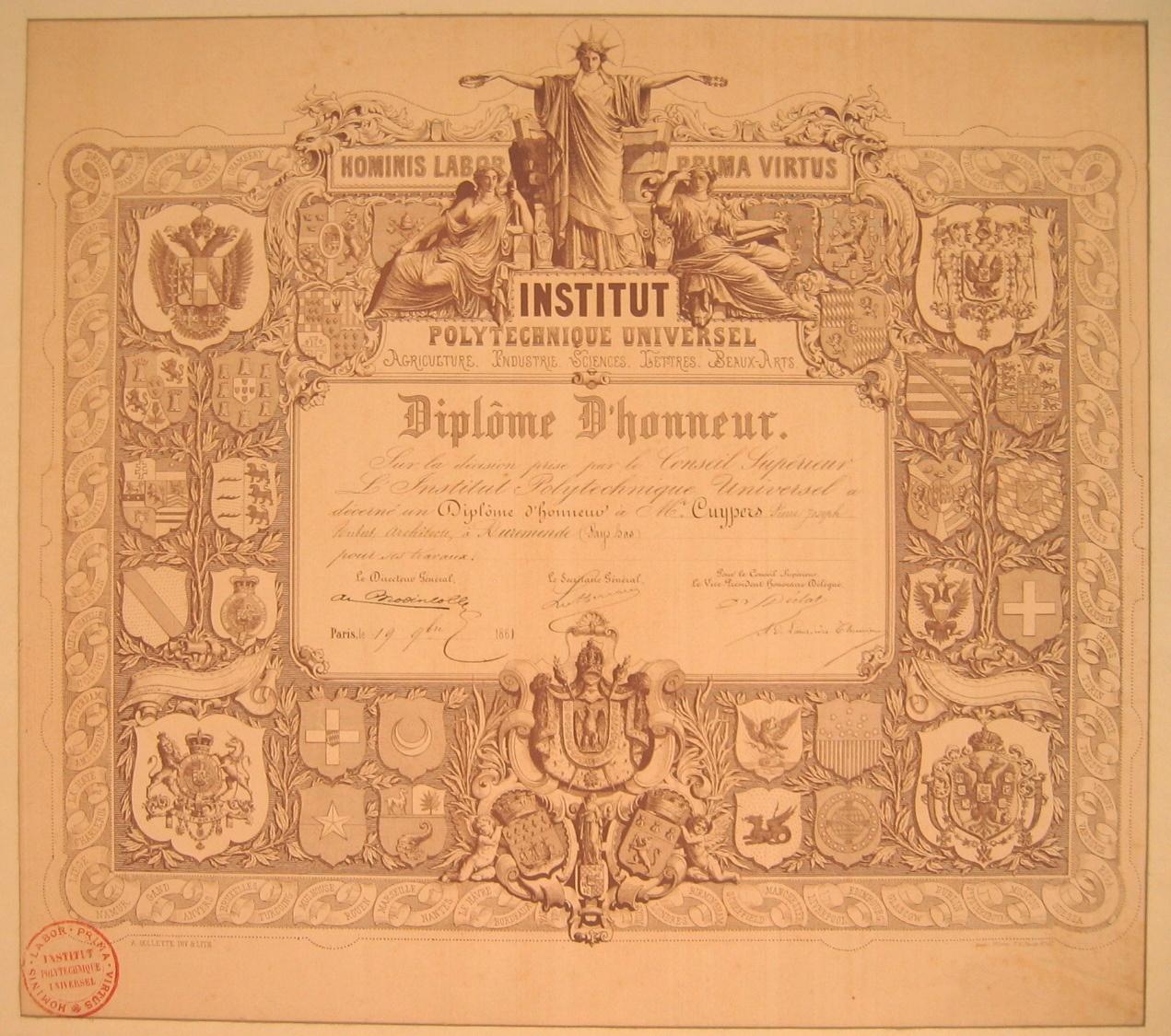 Diplôme d'Honneur van het Institut Polytechnique te Parijs voor P.J.H. Cuypers