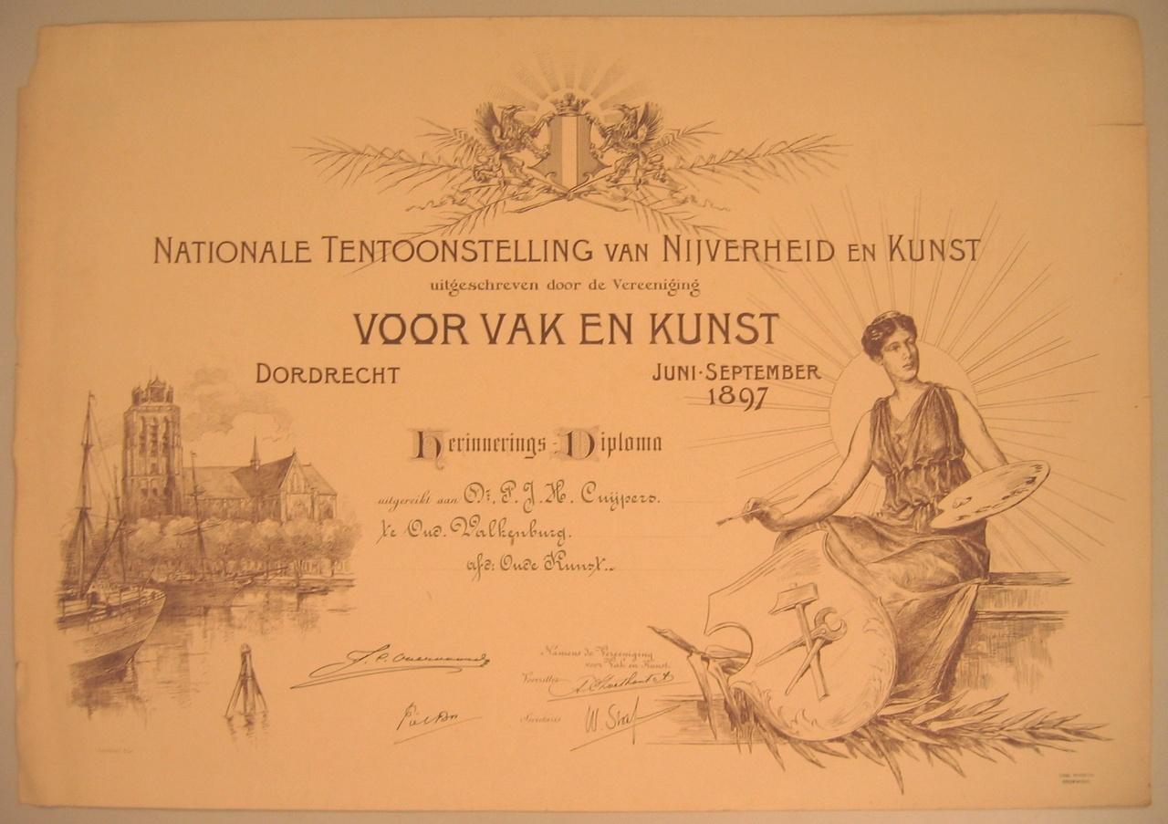 Herinneringsdiploma aan de Nationale ten- toonstelling van Nijverheid en Kunst Dordrecht