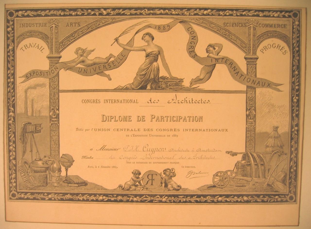 Deelname certificaat Exposition Universelle Parijs voor Monsieur Cuypers