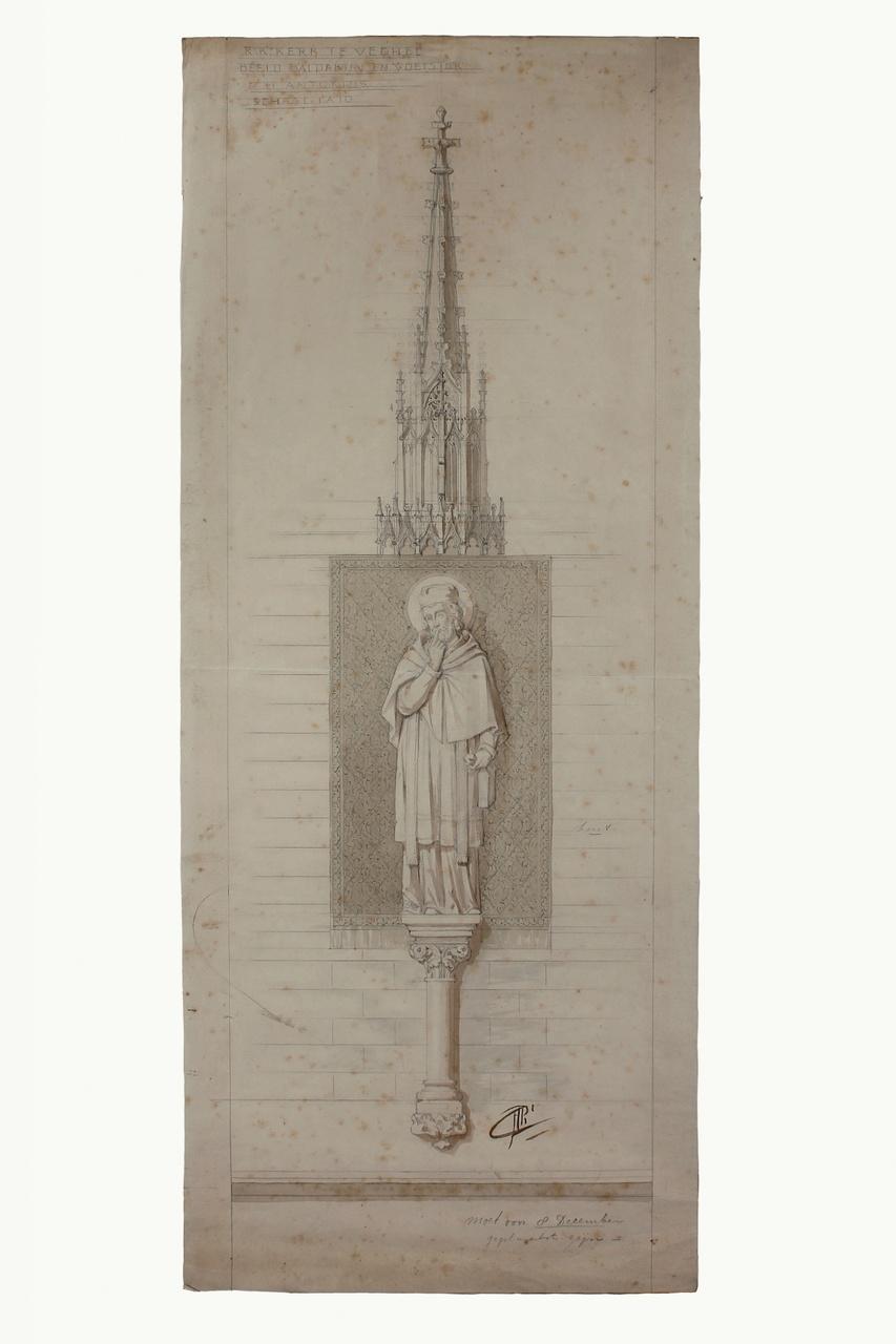 Ontwerptekening St. Anthoniusbeeld onder baldakijn voor de St. Lambertuskerk te Veghel