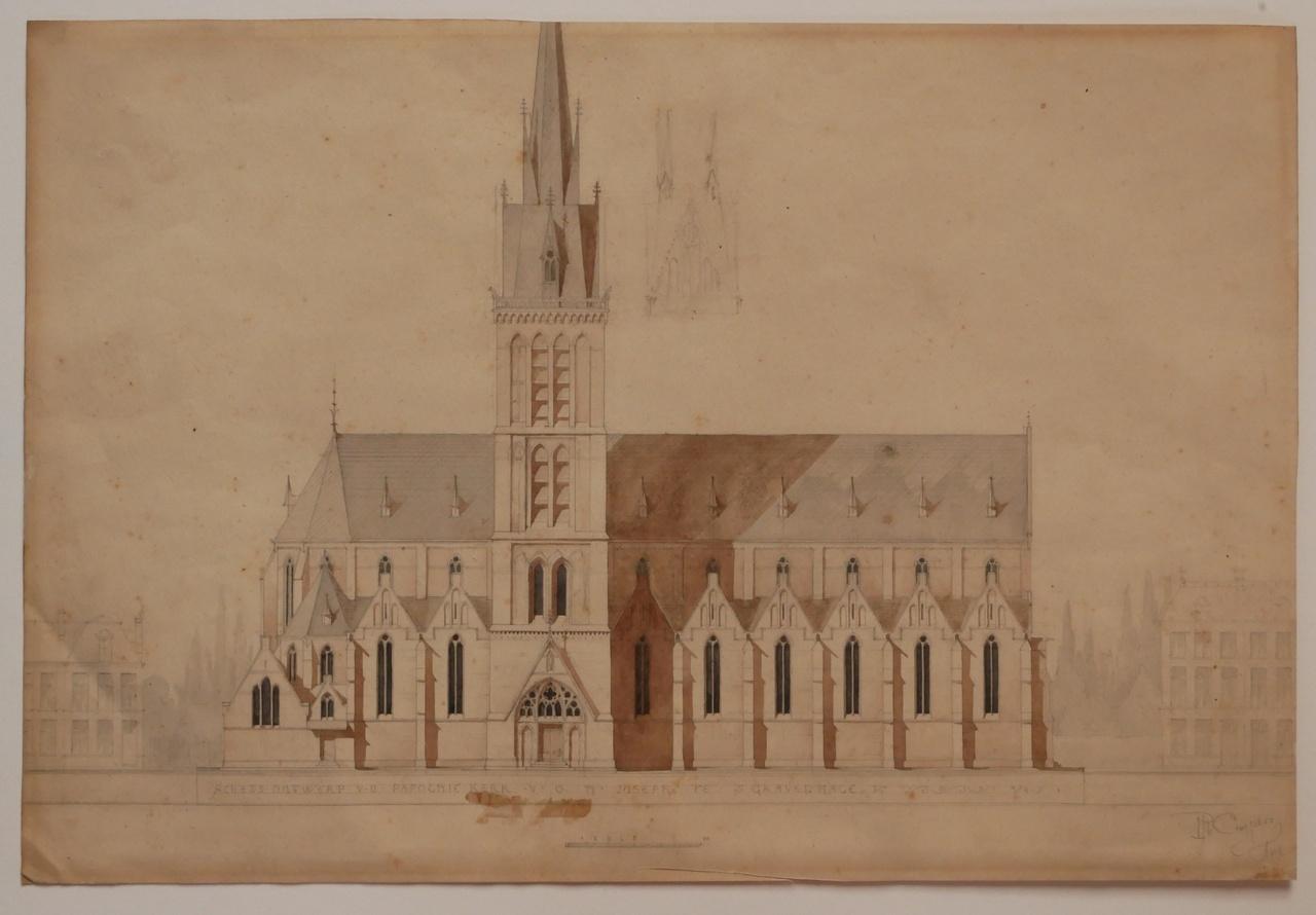 Ingekleurde ontwerptekening van de St. Jozefkerk te 's-Gravenhage