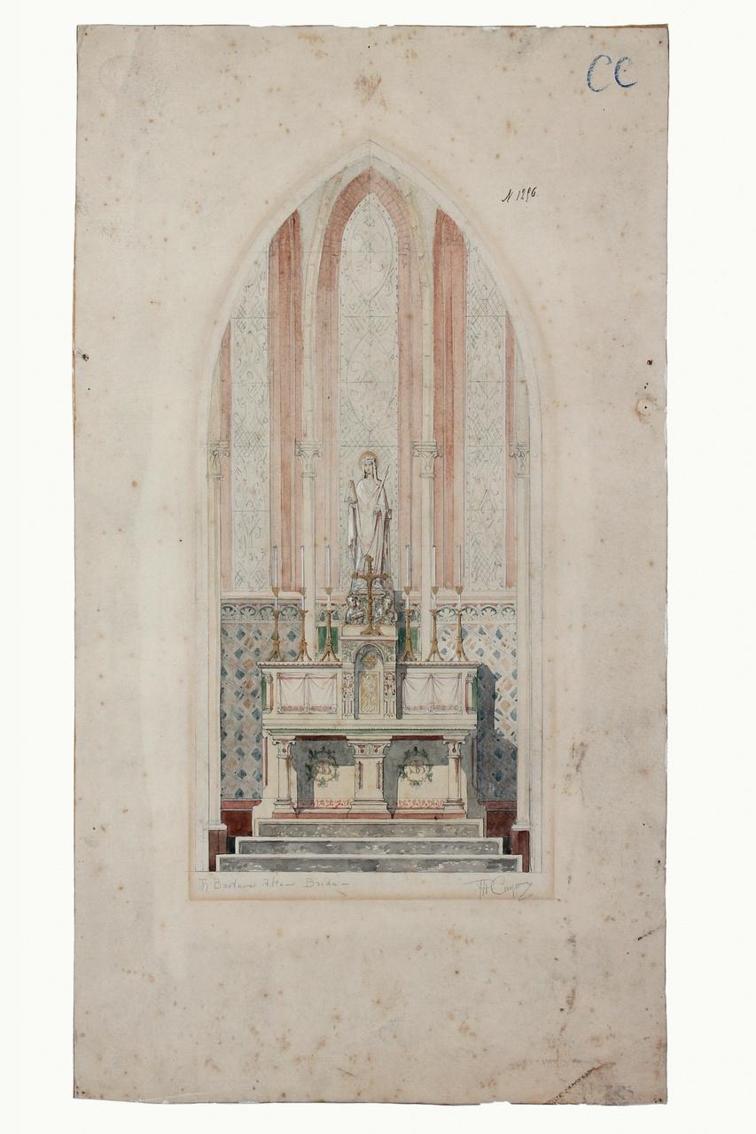 Ingekleurde ontwerptekening altaar St. Barbarakerk te Breda
