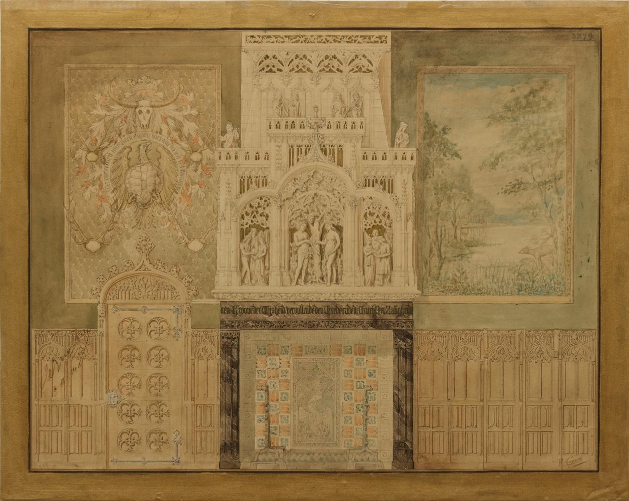 Ingekleurde ontwerptekening van een wand in kasteel De Haar