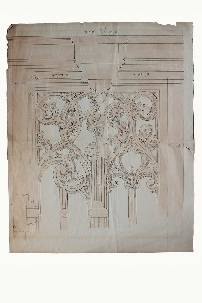 Detailtekening afsluithek Bloedkapel van de St. Petruskerk te Boxtel