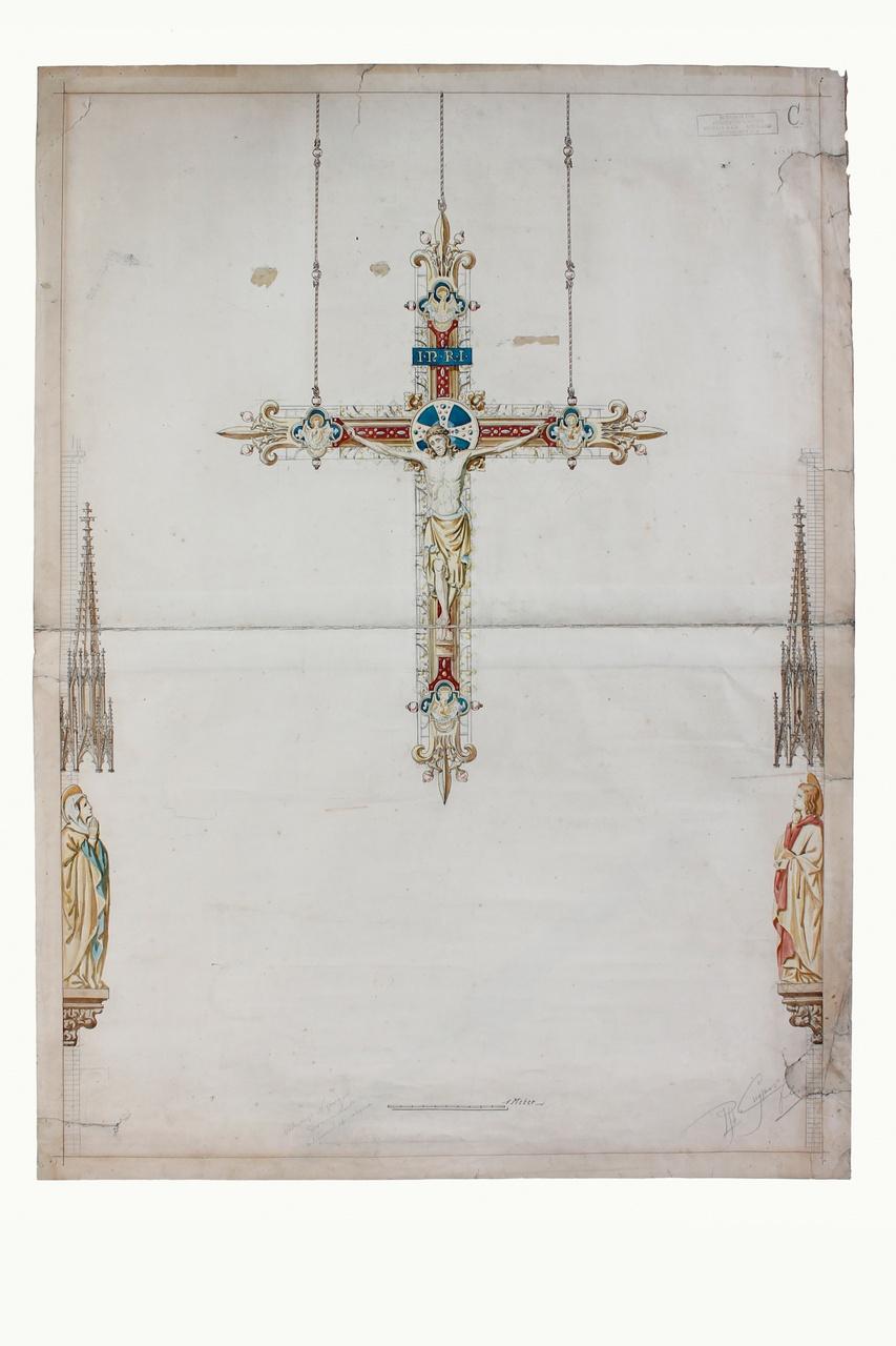 Ingekleurde ontwerptekening triumphkruis