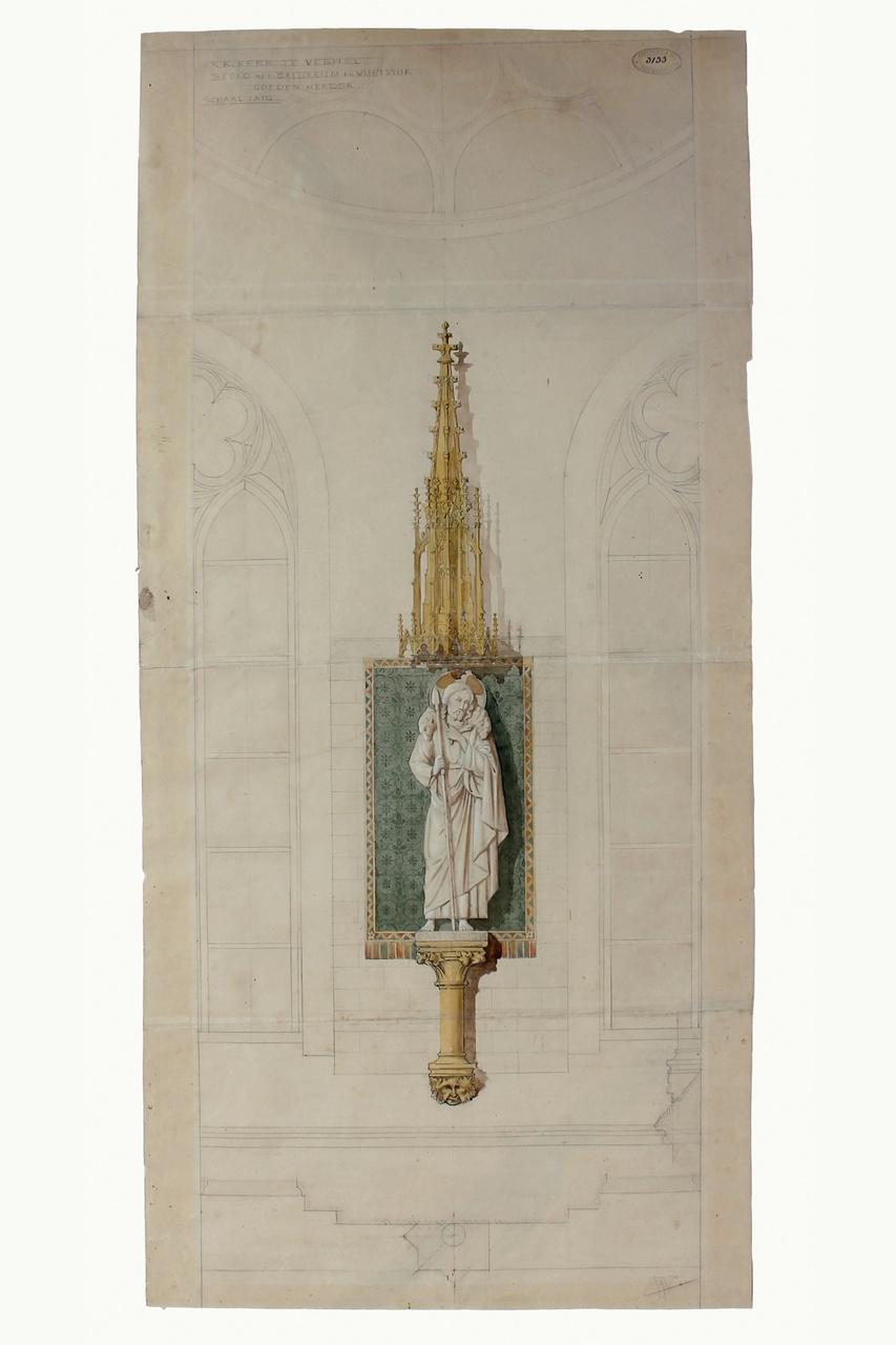 Ingekleurde ontwerptekening beeld van de goede herder St. Lambertuskerk Veghel