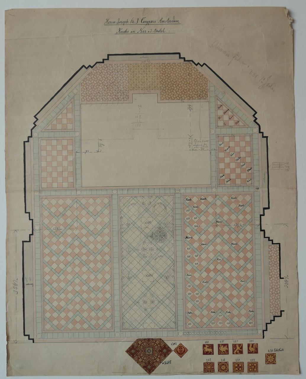Ingekleurde ontwerptekening voor de betegeling van een kerkvloer in een kerk in Nes aan de Amstel