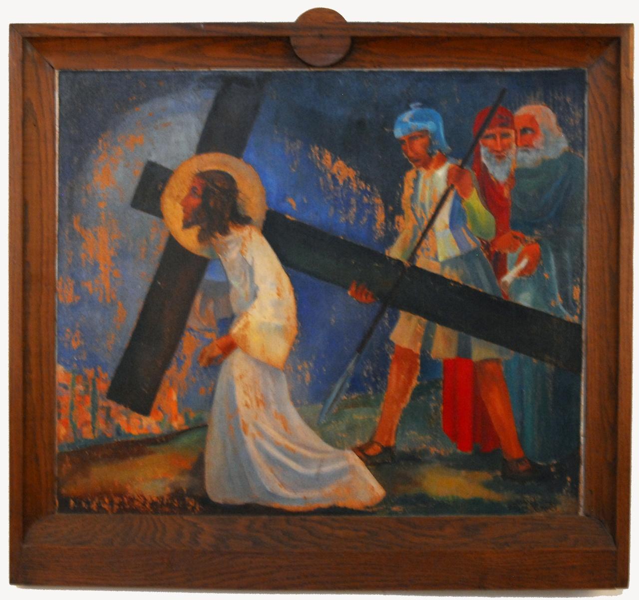 Kruiswegstatie: Christus loopt onder het kruis
