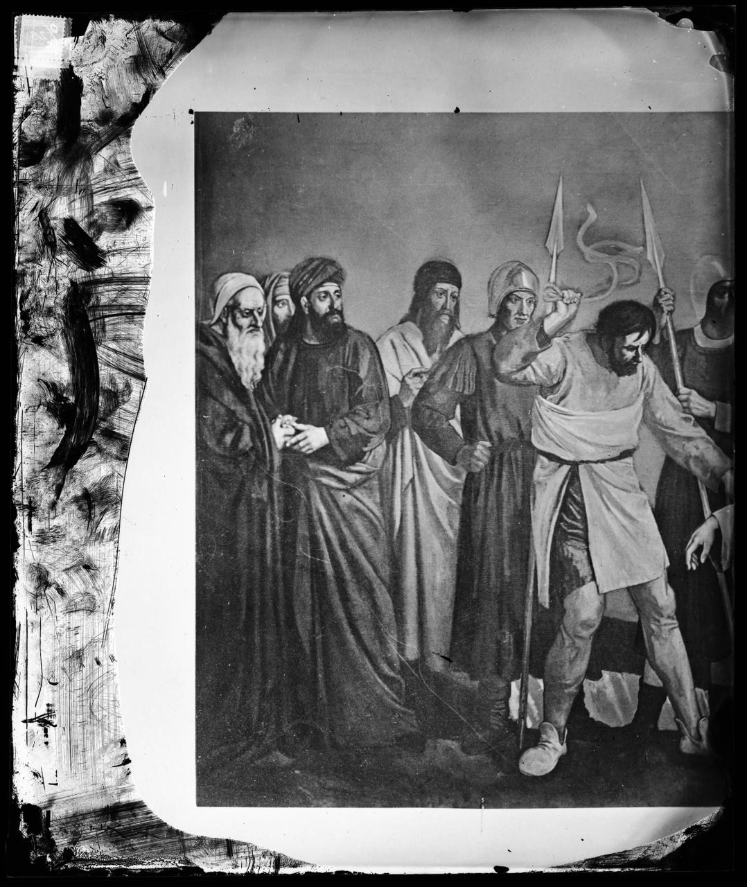Glasnegatief van een foto van de helft van een geschilderde kruiswegstatie