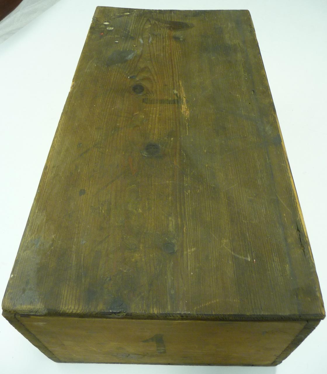 Kist voor glasnegatieven met nummer 1 (klein).