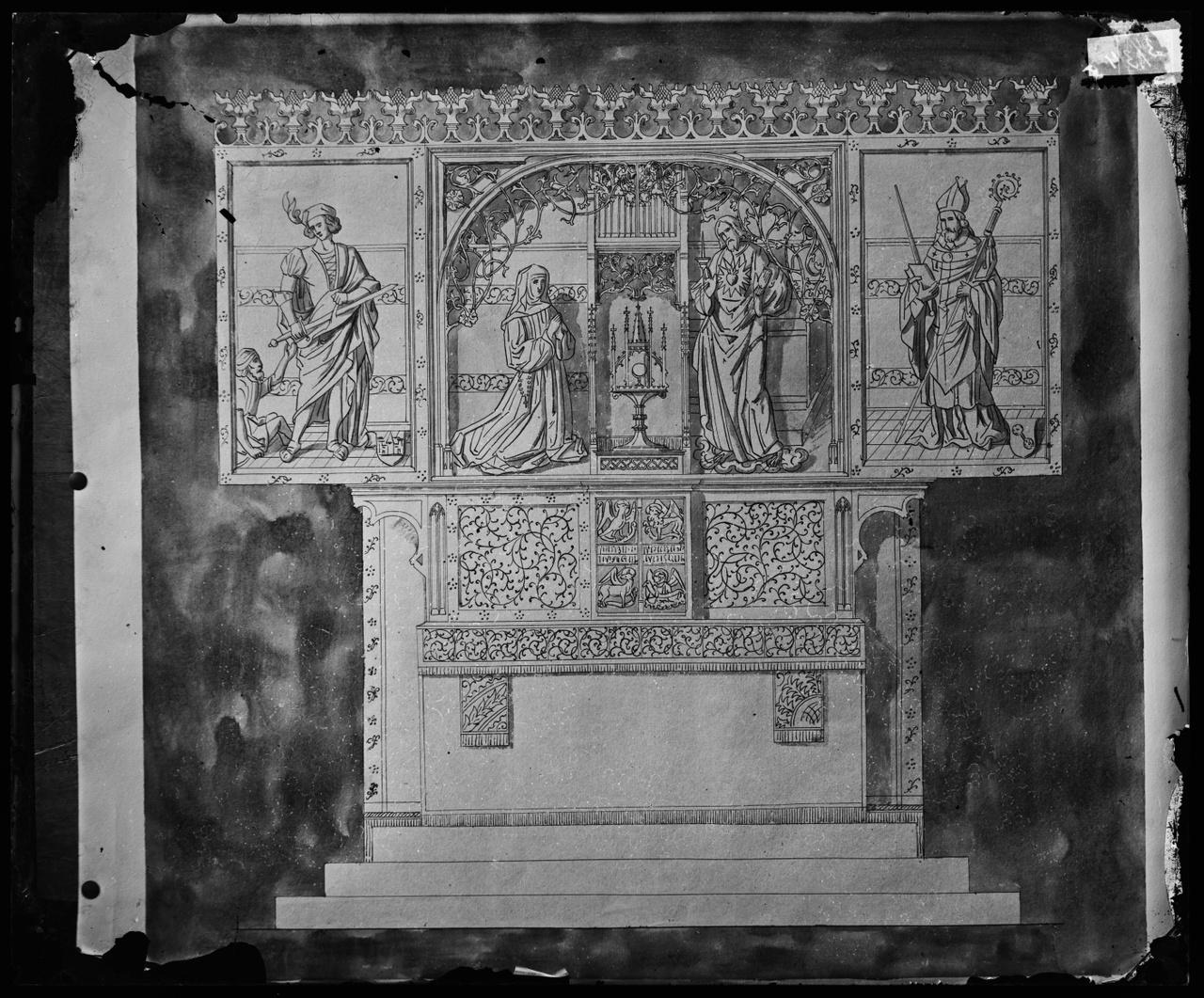 Glasnegatief van foto van producten uit de Cuypers' Kunstwerkplaatsen: H. Sacrament
