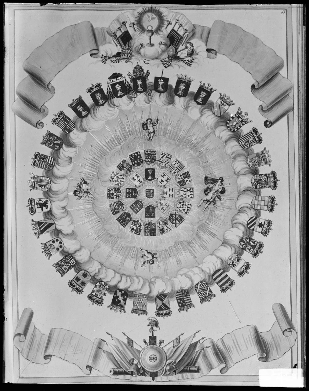 """Glasnegatief van foto van producten uit de Cuypers' Kunstwerkplaatsen: """"Haarzuylen Wapens""""."""