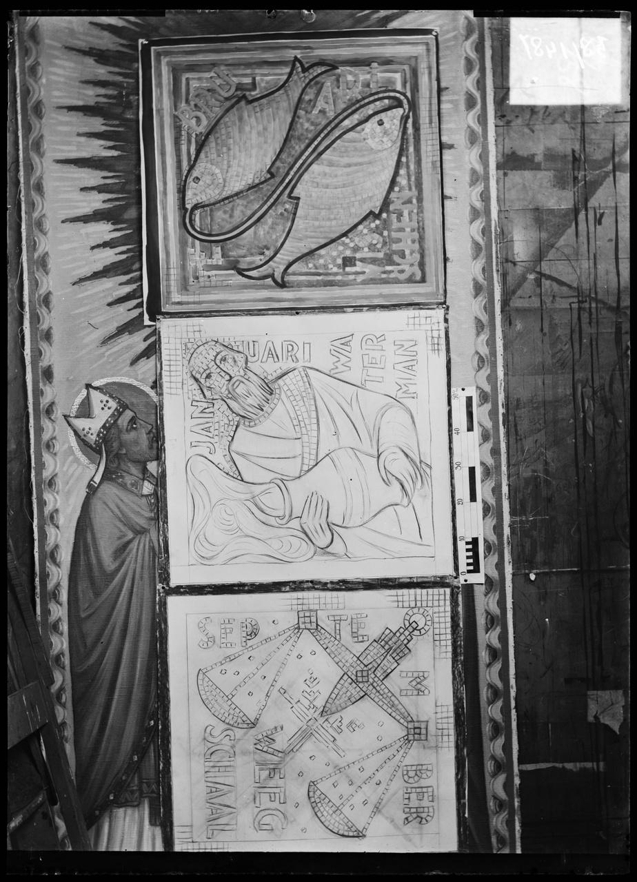 """Glasnegatief van foto van producten uit de Cuypers' Kunstwerkplaatsen: """"Ontwerptekening van drie Tekens van de Dierenriem """"."""