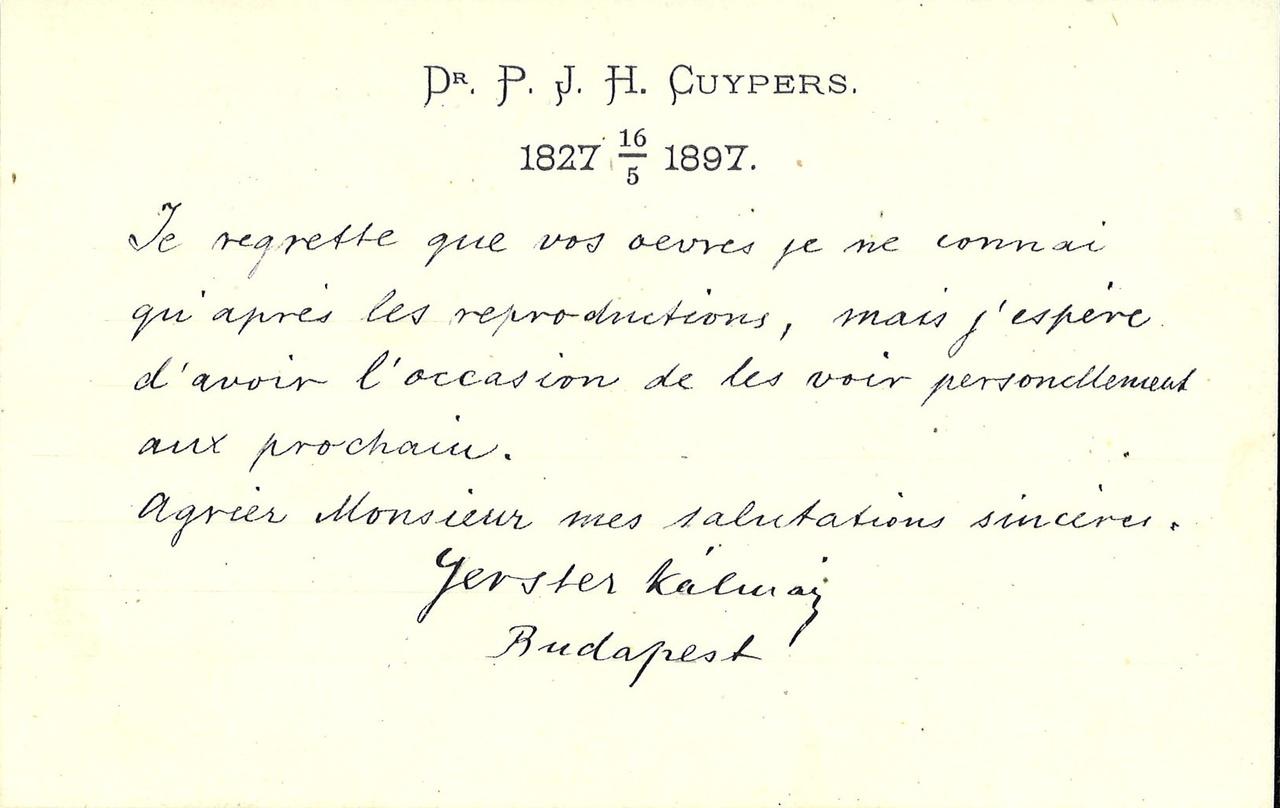Gebonden album met gelukwensen aan dr. P. Cuypers t.g.v. zijn 70-ste verjaardag op 16 mei 1897 op afzonderlijke wenskaarten van diverse collega-architecten: wenskaart