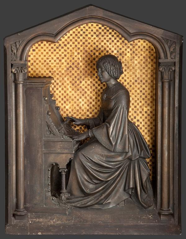 Nis van gips met daarin figuur van de Heilige Cecilia