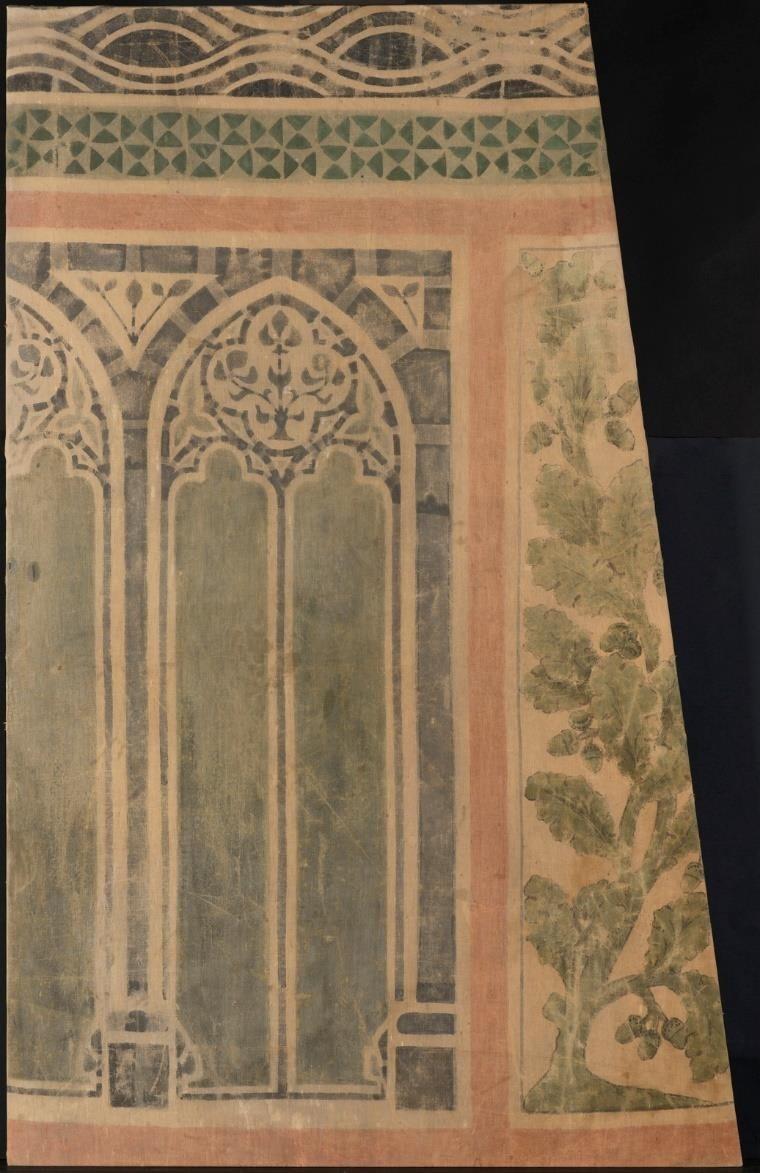 Zijstuk wandbespanning schouw Ridderzaal met behulp van sjablonen beschilderd